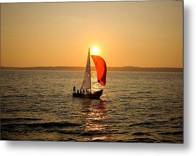 Sunset Over Narragansett Bay Metal Print by Allan Millora