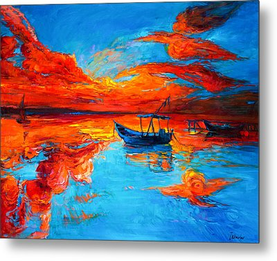 Sunset Over Ocean Metal Print by Ivailo Nikolov