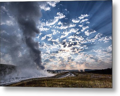 Sunset Over Old Faithful - Horizontal Metal Print by Andres Leon