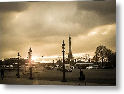 Sunset Over Paris Metal Print by Steven  Taylor