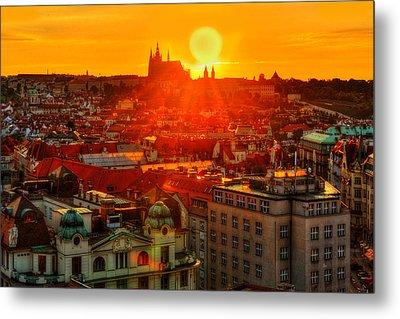 Sunset Over Prague Metal Print