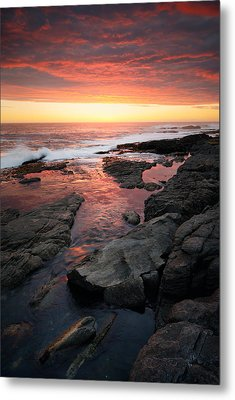 Sunset Over Rocky Coastline Metal Print