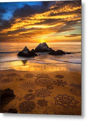Sunset Over Sand Art Metal Print