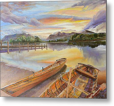 Metal Print featuring the painting Sunset Over Serenity Lake by Mary Ellen Anderson