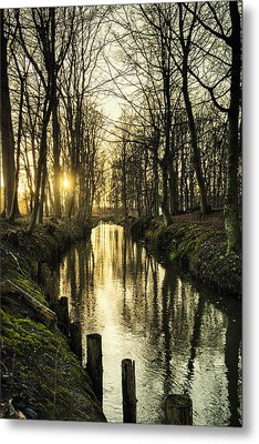 Sunset Over Stream Metal Print
