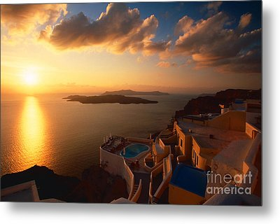 Sunset Over The Aegean Sea Metal Print by Aiolos Greek Collections