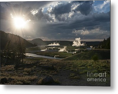 Sunset Over The Firehole River - Yellowstone Metal Print by Sandra Bronstein