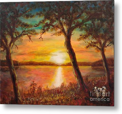 Sunset Over The Lake Metal Print by Martin Capek