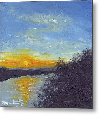 Sunset Over The Mississippi Metal Print by Monica Veraguth