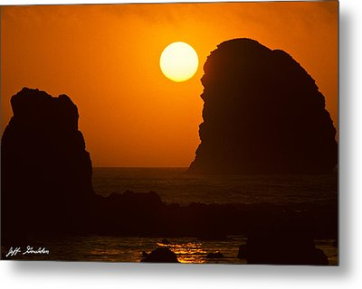 Metal Print featuring the photograph Sunset Over The Pacific Ocean With Rock Stacks by Jeff Goulden