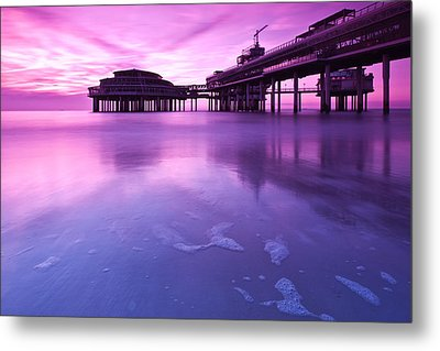 Sunset Over The Pier Metal Print by Mihai Andritoiu