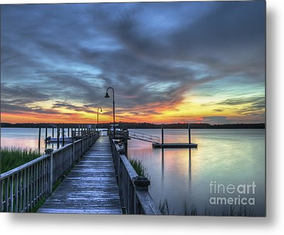 Sunset Over The River Metal Print by Dale Powell