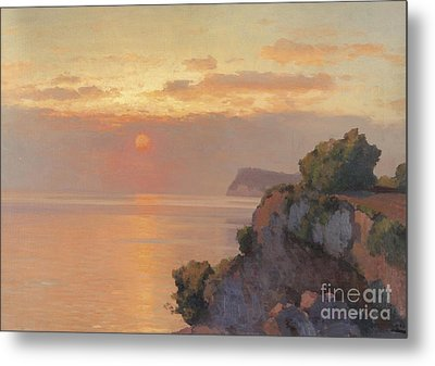 Sunset Over The Sea Metal Print by Celestial Images