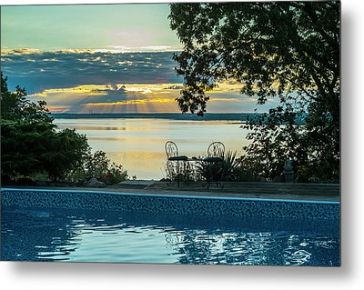 Sunset Over The St. Lawrence River Metal Print by Jacques Laurent