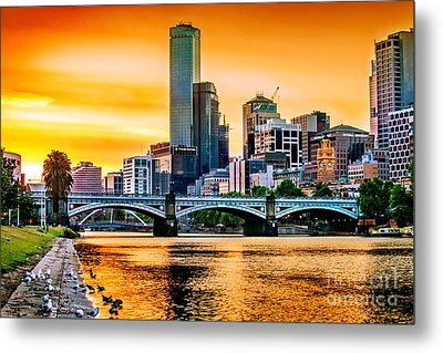 Sunset Over The Yarra Metal Print by Az Jackson