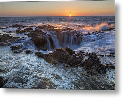 Sunset Over Thor's Well Along Oregon Coast Metal Print