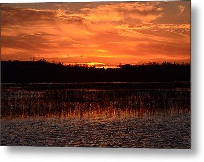 Sunset Over Tiny Marsh Metal Print