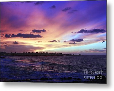 Metal Print featuring the photograph Sunset Over Town And Sea Water by Mohamed Elkhamisy