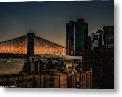 Metal Print featuring the photograph Sunset Overlooking The Brooklyn Bridge New York by Linda Karlin