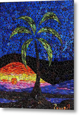 Sunset Palm Metal Print