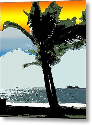 Sunset Palm Metal Print by Karen Nicholson
