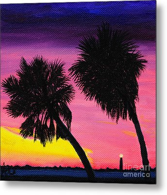 Sunset Palms At Fort Desoto Metal Print by Jane Axman