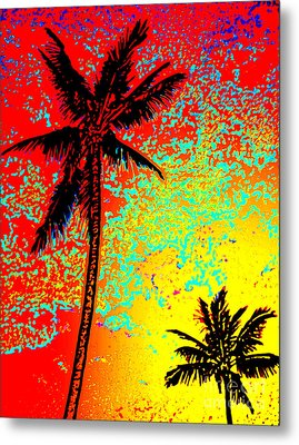 Metal Print featuring the photograph Sunset Palms by David Lawson