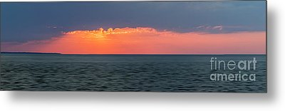 Sunset Panorama Over Ocean Metal Print by Elena Elisseeva