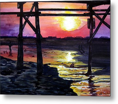 Metal Print featuring the painting Sunset Pier by Lil Taylor
