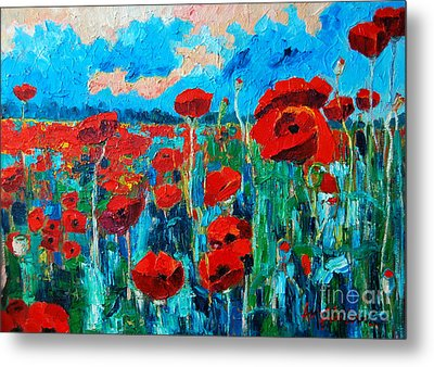 Metal Print featuring the painting Sunset Poppies by Ana Maria Edulescu