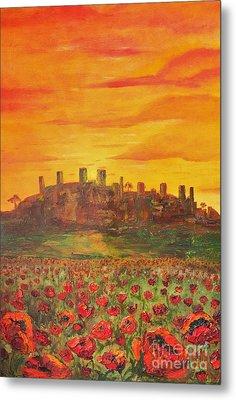 Sunset Poppies Metal Print