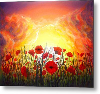 Metal Print featuring the painting Sunset Poppies by Lilia D
