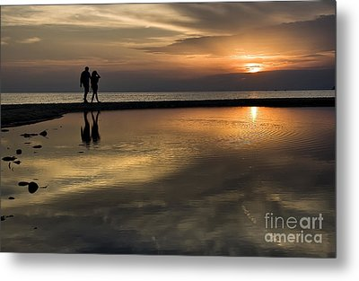 Sunset Reflection And Silhouettes Metal Print by Daliana Pacuraru