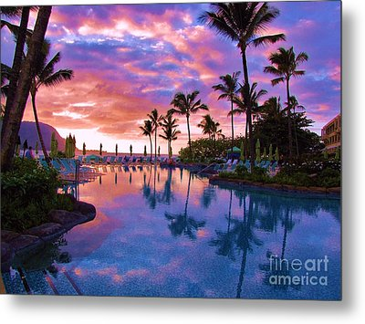 Sunset Reflection St Regis Pool Metal Print by Michele Penner