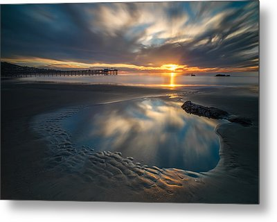 Sunset Reflections In San Diego Landscape Version Metal Print by Larry Marshall
