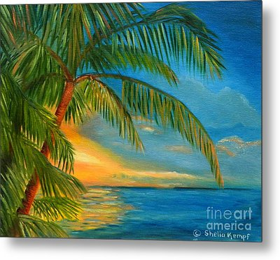 Metal Print featuring the painting Sunset Reflections - Key West Sunset And Palm Trees by Shelia Kempf