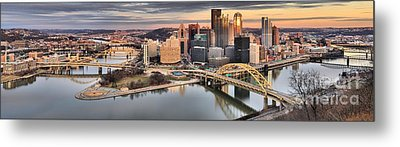 Sunset Reflections Of Pittsburgh Metal Print