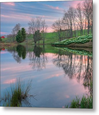 Sunset Reflections Square Metal Print by Bill Wakeley