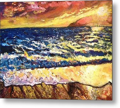 Metal Print featuring the painting Sunset Rest - Drama At Sea by Belinda Low