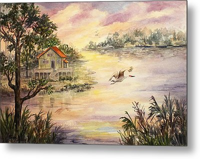 Metal Print featuring the painting Sunset Retreat by Roxanne Tobaison