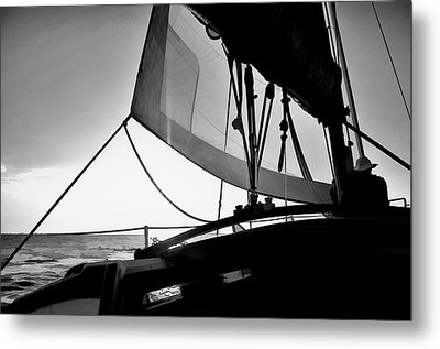 Sunset Sail In Black And White Metal Print
