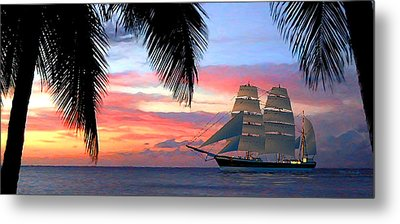 Sunset Sailboat Filtered Metal Print