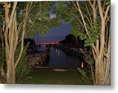 Sunset Sailboat Frame Metal Print by Kelly Reber