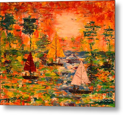 Metal Print featuring the painting Sunset Sailing by Denise Tomasura