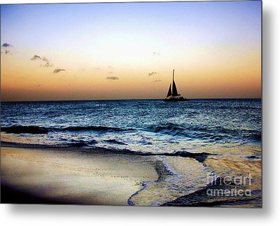 Sunset Sailing In Aruba Metal Print by Polly Peacock