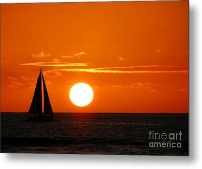Sunset Sailing Metal Print by Kristine Merc