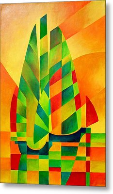 Metal Print featuring the painting Sunset Sails And Shadows by Tracey Harrington-Simpson