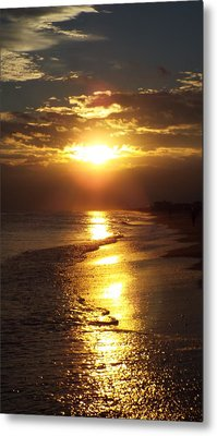 Sunset  Sand  Waves Metal Print
