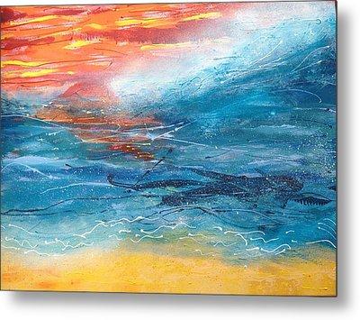 Sunset Seascape Metal Print by Judi Goodwin