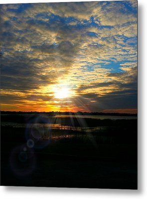 Sunset Sets Off Cloud Explosion Metal Print by Joetta Beauford